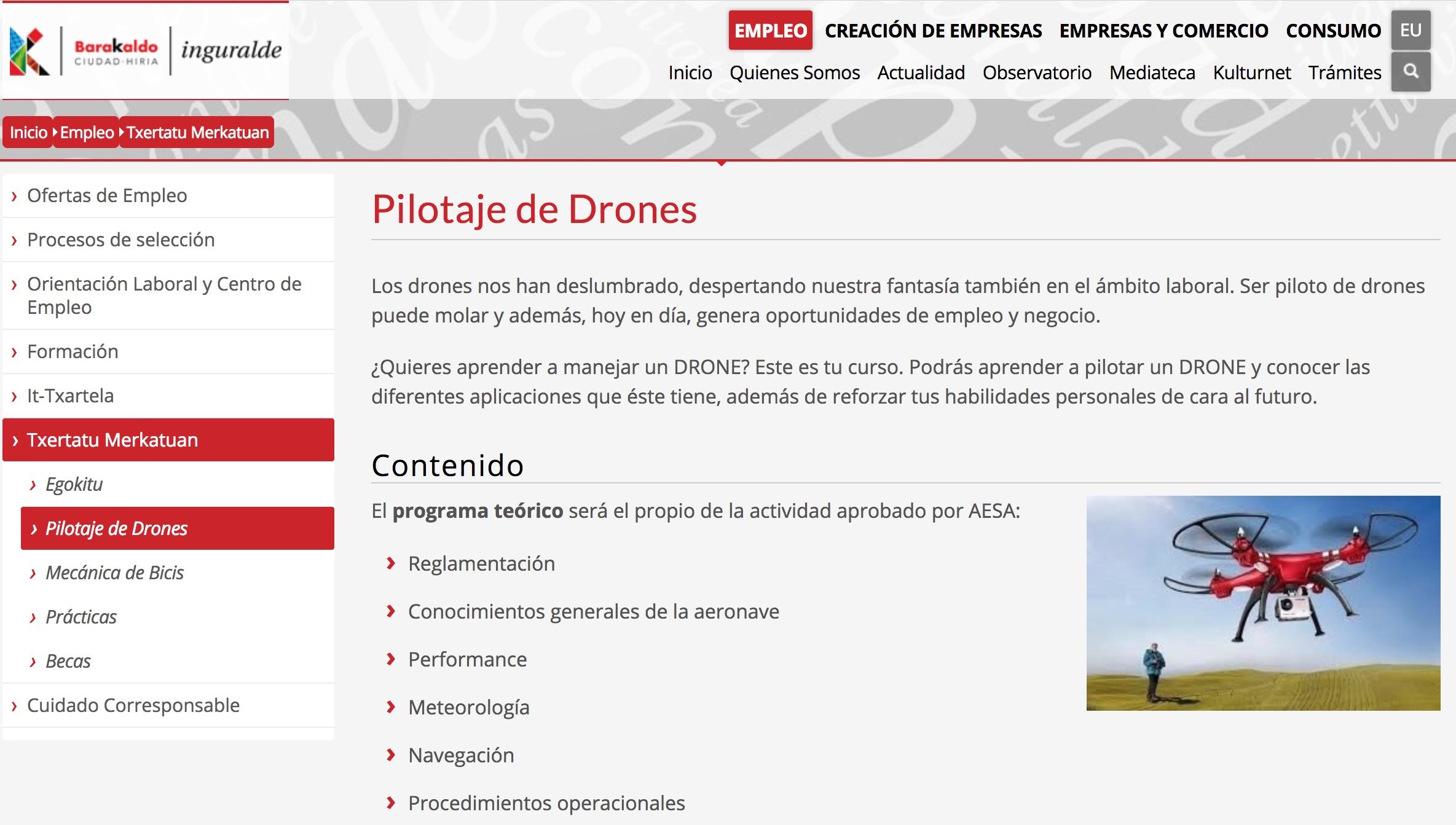 Curso De Formacion De Pilotaje De Drones En Barakaldo Por Inguralde Desempleados